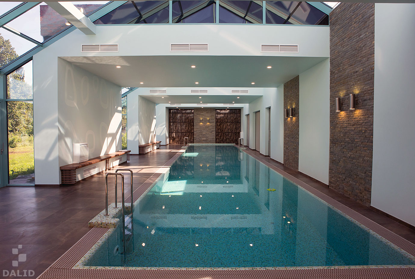 Architecture and interior of the room with a pool